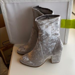 Silver Grey velour boots